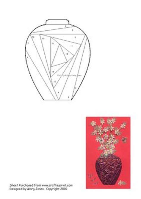 folded flower card template vase iris folding pattern cup57770 601