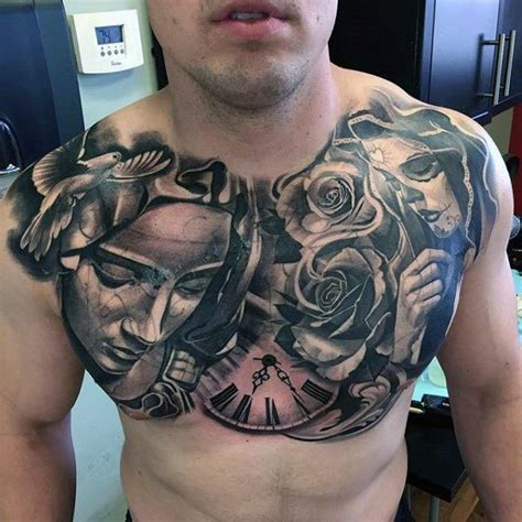 amazing chest tattoos day of the dead religious mens awesome chest design