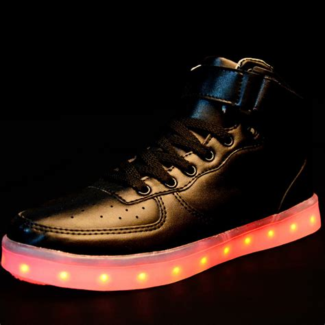 Sport Shoes Led high top luminous sport shoes usb charging led light lace