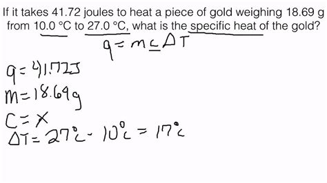 How To Find Specific On Specific Heat Solving For Specific Heat Of A Substance