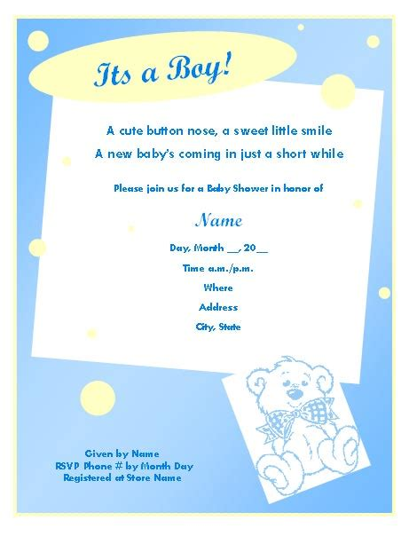 baby shower invitation templates for boys baby shower invitation template for boy