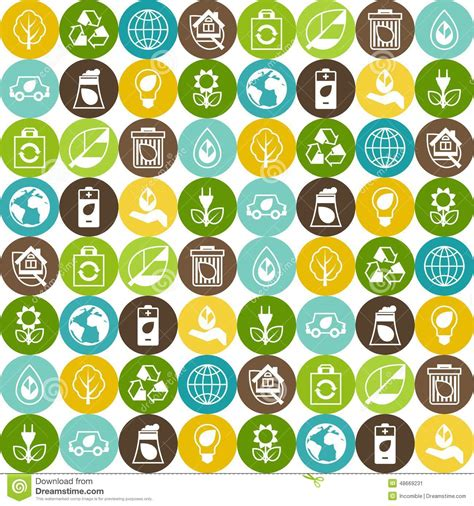 pattern of energy flow in the environment ecology seamless pattern with environment icons stock