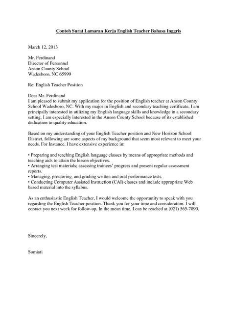 surat lamaran kerja guru bahasa inggris contoh lamaran kerja dan cv