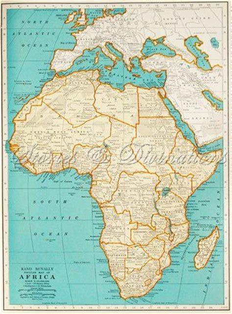 africa map 1940 africa vintage map of africa 1940s vintage by