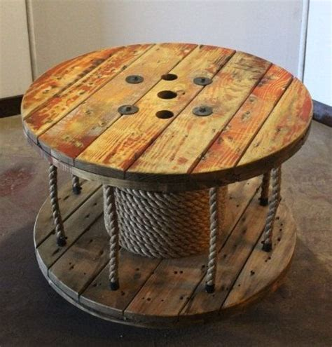 up cycled cable spool coffee table library storage