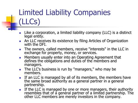 Limited Liability Company Facts Information Pictures | ppt tax and legal issues powerpoint presentation id