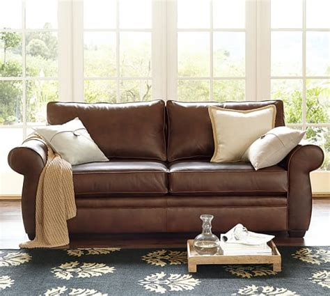 potterybarn sofas pearce leather sofa pottery barn