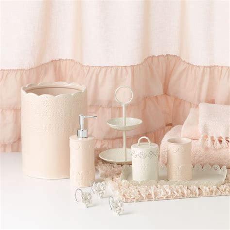 Pink And White Bathroom Accessories Lc Conrad Ella Ruffle Fabric Shower Curtain Showers Lc Conrad And Conrad