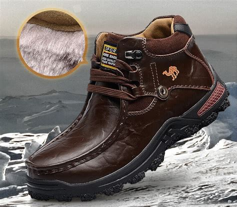Safety Shoes Boots Cakep brand camel winter warm grain cowhide leather