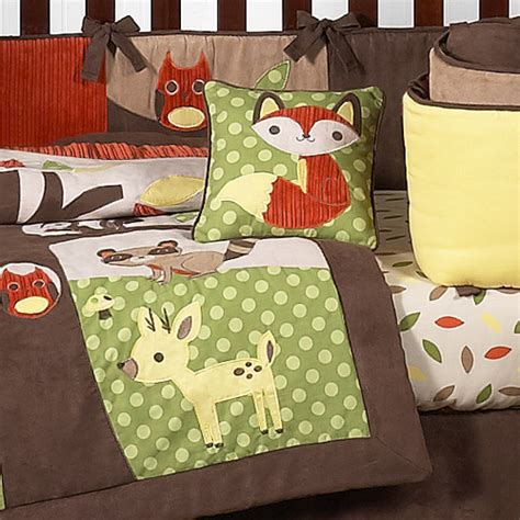 Forest Friends Crib Set by Nature Animal Woodland Themed Green Brown 9p Baby Boy Crib