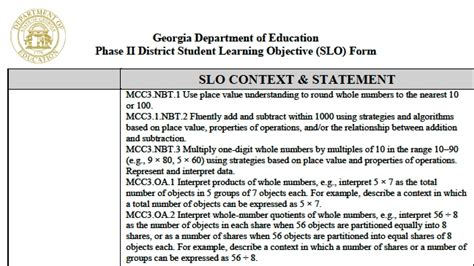 slo template ohio student learning objectives exles world of exles