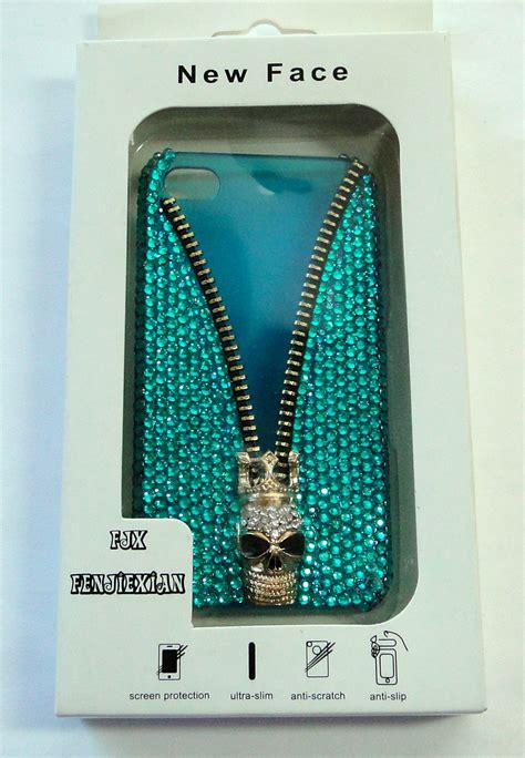 Blue Skulls Iphone 55c5s Cover handmade cool blue skull bling bling finished cover