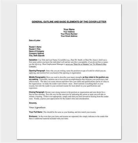 Cover Letter Outline Template Cover Letter Outline Template 7 Sles Exles Formats