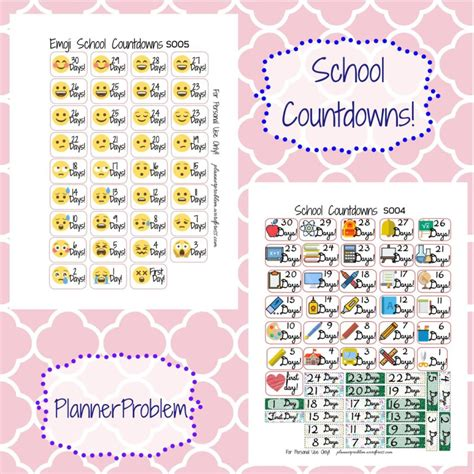 printable stickers for school school countdown stickers free printable planner