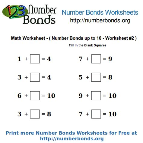 number bonds math worksheet up to 10 worksheet 2 number