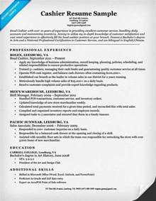 Exle Of Cashier Resume by Cashier Resume Sle Resume Companion