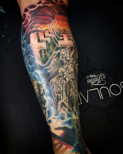 metal tattoos metallica album cover leg by matt parkin soular