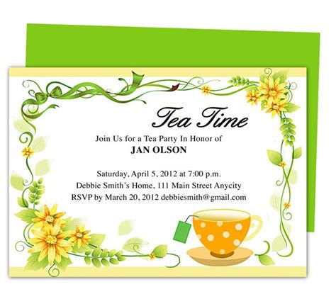 Freshness Tea Party Invitation Party Templates Printable Tea Invitation Template Word