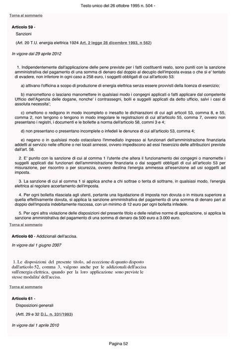 testo unico accise 52 rimborso accise gasolio