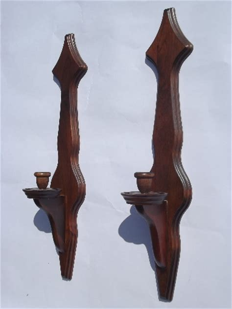 Colonial wood wall sconces w/ hurricane candle shades