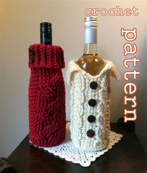 crochet pattern wine bottle bag items similar to pdf crochet pattern cabled sweater wine