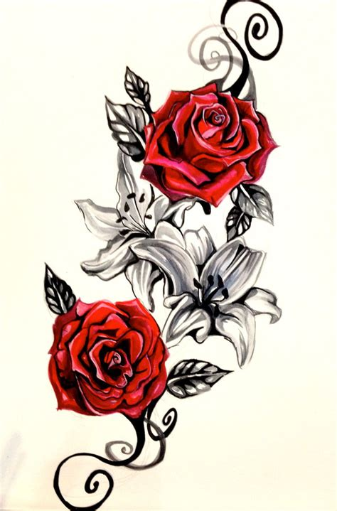 heart rose and vine tattoo designs 25 designs