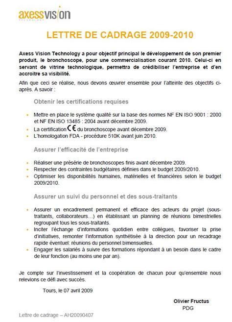 Lettre De Cadrage Entreprise La Mise En Place De La Certification Iso 13485 Au Sein D