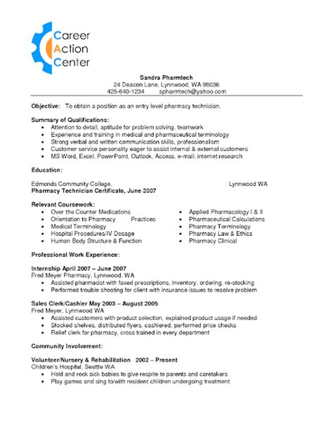 Pharmacy Tech Resume by Sle Of Pharmacy Technician Resume Sle Resumes