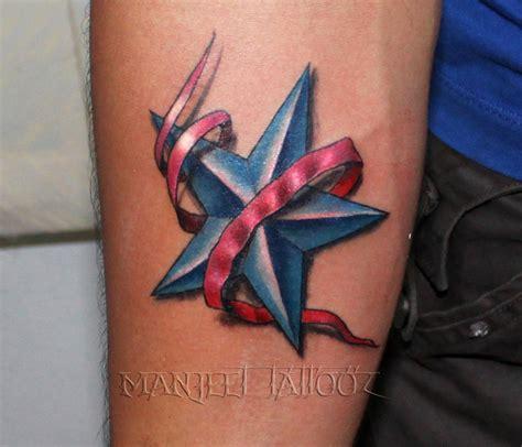3d tattoo nj 3d star with ribbon tattoo professional tattoo studio in
