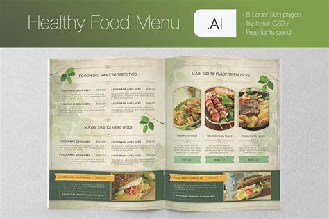 healthy food menu brochure templates on creative market