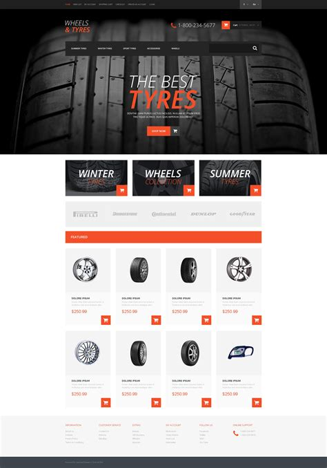 wheels tires responsive opencart template