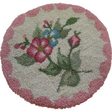 pink floral rug dollhouse antique miniature pink floral hooked rug