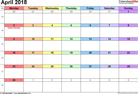 printable calendar uk april 2018 calendar with holidays uk monthly printable