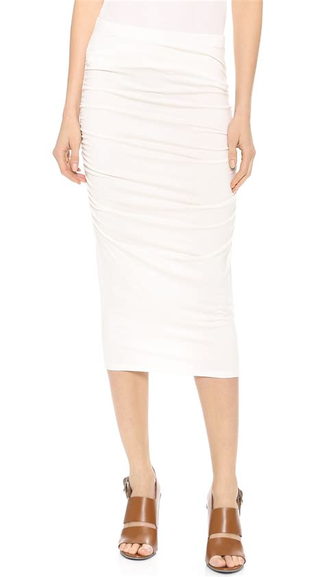three dots ruched midi skirt in white ivory lyst