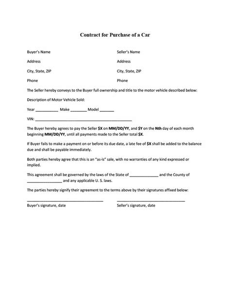 contract for selling a car with payments receptionist