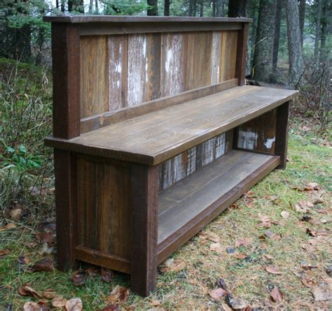 entrance benches reclaimed rustic backed entry bench by echopeakdesign on etsy