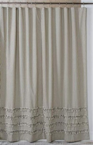 ticking shower curtain ruffled ticking stripe shower curtain black southern