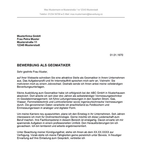 Word Vorlage Wegweiser Bewerbung Als Geomatiker Geomatikerin Bewerbung Co