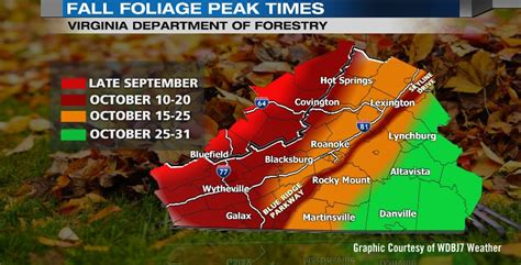 2016 fall color schedule for virginia s blue ridge