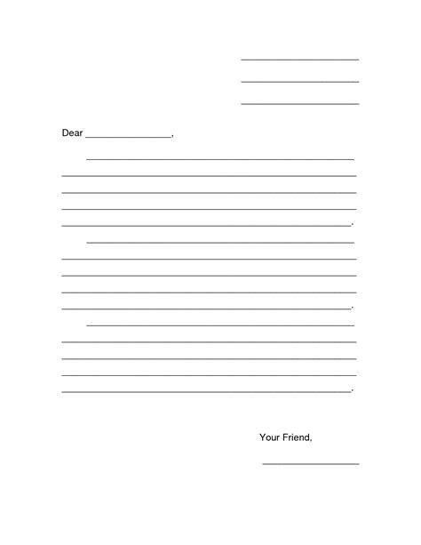 Letter Template Printable 8 Best Images Of Printable Blank Template Friendly Letter Writing Friendly Letter Template