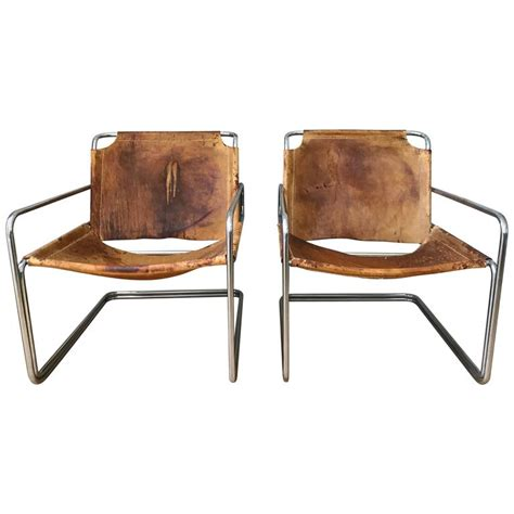 Mid Century Leather Chair pair of french leather and chrome mid century sling chairs