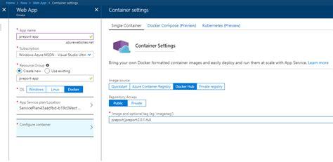 docker tutorial azure render reports using azure app service