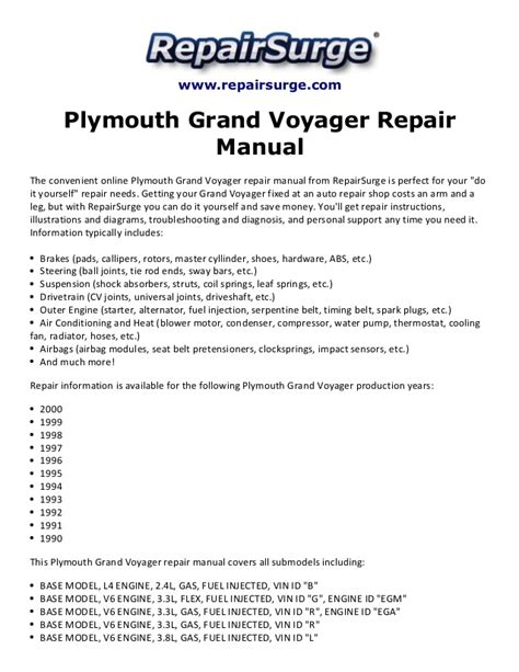 free online auto service manuals 1997 plymouth voyager spare parts catalogs plymouth grand voyager repair manual 1990 2000
