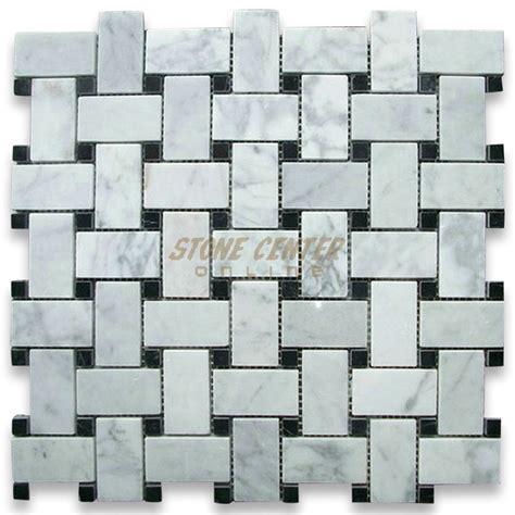 Kitchen Backsplash Mosaic Tile carrara white 1x2 basketweave mosaic tile w black dots