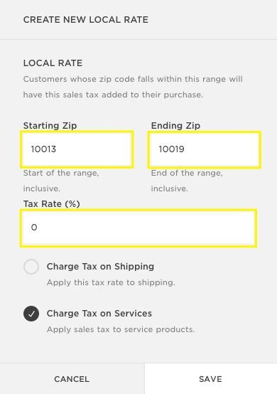 us area code range setting up taxes in squarespace commerce help