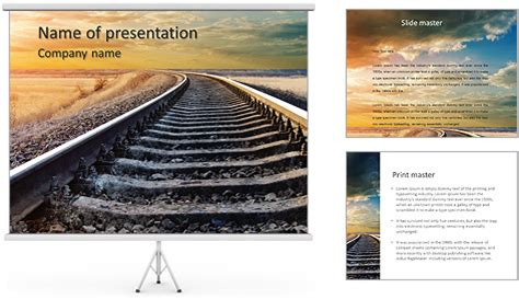 Railway Themes For Powerpoint | railway to horizon powerpoint template backgrounds id