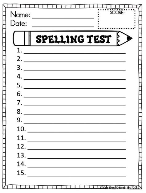 Free Printable Spelling Test Template Homeschool Pinterest Spelling Test Spelling Test Spelling Pretest Template