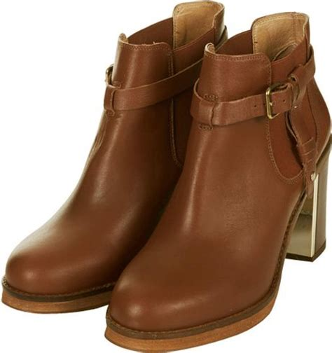 topshop womens mine leather buckled ankle boots in