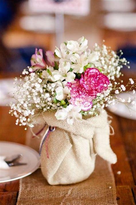 burlap wrapped jars vases party ideas pinterest wood