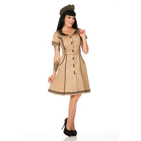 Swing Stil Kleidung by Damen Kleid Beige 50s Vintage Stil Retro Stewardess
